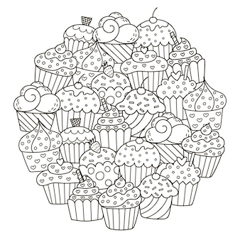 Circle shape pattern with cute cupcakes