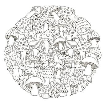 Узор в форме круга с фантазийными грибами для раскраски