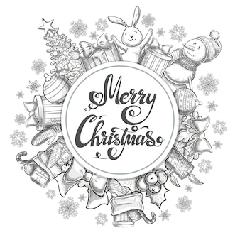 Circle shape template with christmas icons. monochrome sketch style christmas illustration for decoration.