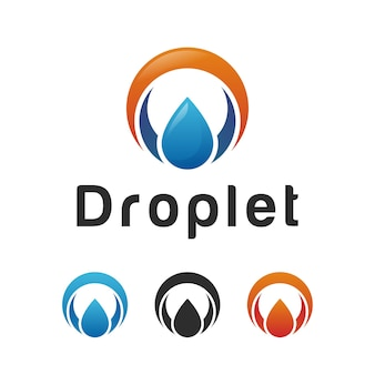 오일 가스 로고가 있는 원 모양, 자연 물방울, 물방울 로고 디자인