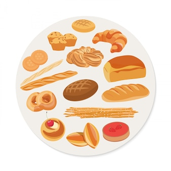 Circle shape with pastries and bakery products