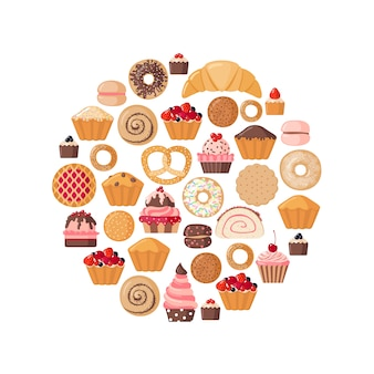 Circle shape with various pastries