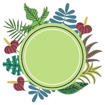 Circle shaped tropical jungle plant frame green circle frame