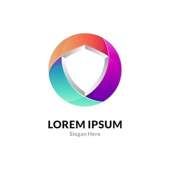 Circle shield colorful logo