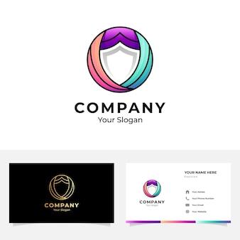 Circle shield logo and business card design