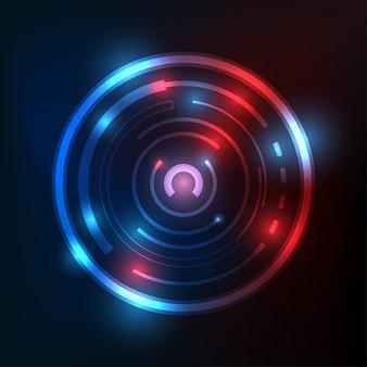 미래 디지털 기술의 무한한 공간 배경 요소에 빛나는 원