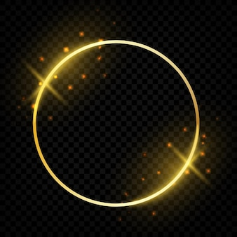 Circle shiny golden frame. glowing round border with magic sparkles greeting cards. vector template festive gold round shapes on transparent background