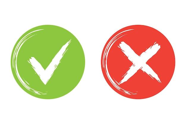 Круг простой мазок кисти веб-кнопок зеленая галочка и красный крест векторные иллюстрации