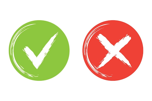 Circle simple brush stroke web buttons green check mark and red cross vector illustration