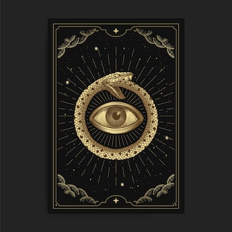 Circle of snakes with eyes inside in tarot card