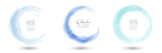 Circle splash with pastel blue watercolor set