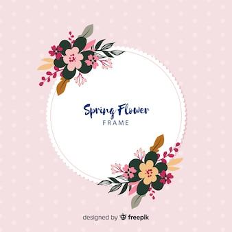 Круг весенняя цветочная рамка