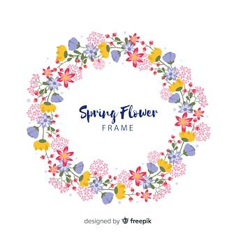 Circle spring floral frame