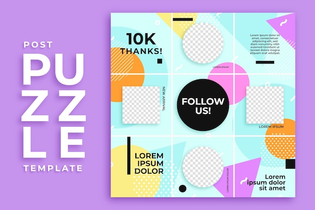 Circle and square post instagram puzzle feed template