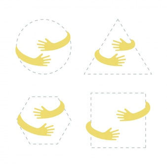 Circle, square, triangle, hexagon shape with yellow hand embrace.