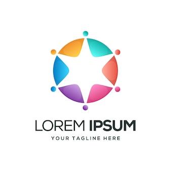 Круг звездный дизайн логотипа