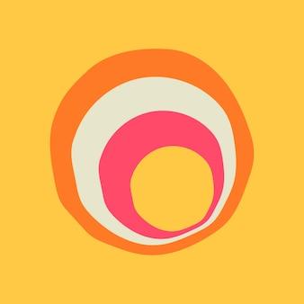サークルステッカーの幾何学的形状、黄色の背景ベクトルのシンプルなレトロなカラフルなデザイン