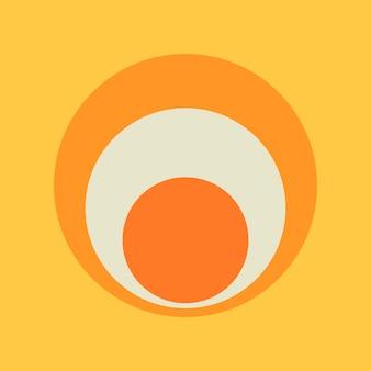 サークルステッカーの幾何学的形状、黄色の背景ベクトルのシンプルなレトロなオレンジ色のデザイン
