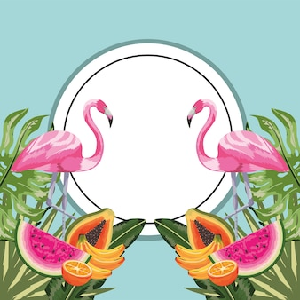 Circle sticker with flamingo and tropical fruits