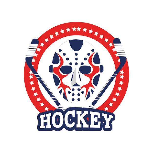 Circle sticker with hockey mask and sticks