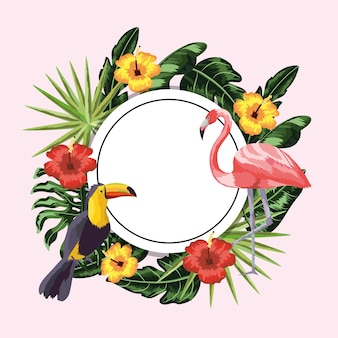 Circle sticker with toucan and flamingo