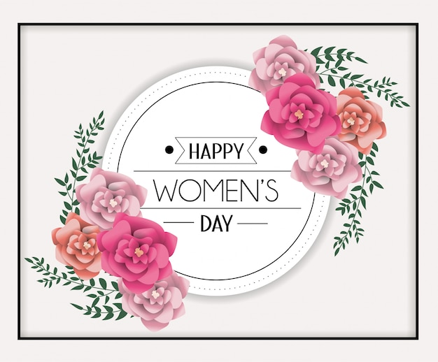 Circle sticker to womens day celebration with roses