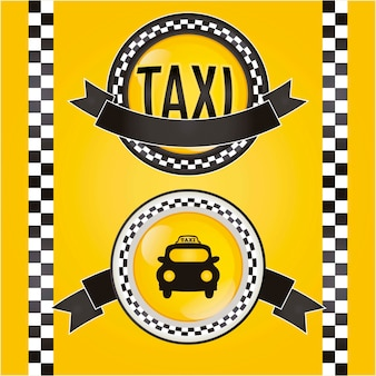 Circle taxi icon with yellow background vector illustration