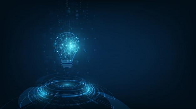 기술 배경에 밝은 파란색과 램프 전구와 원 기술
