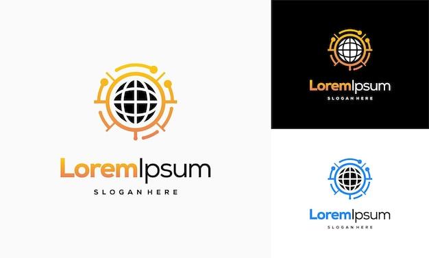 Circle technology logo template, world tech logo designs vector, logo symbol icon