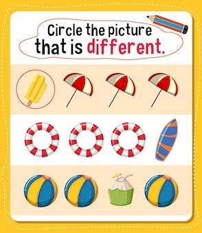 아이들을위한 활동이 다른 그림에 동그라미를 치십시오.