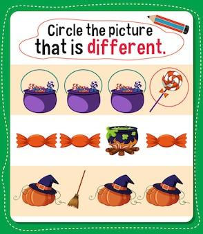 아이들을 위한 다른 활동이 있는 그림에 동그라미를 치십시오.