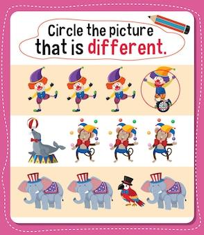 아이들을 위한 다른 활동이 있는 그림에 동그라미를 치세요.
