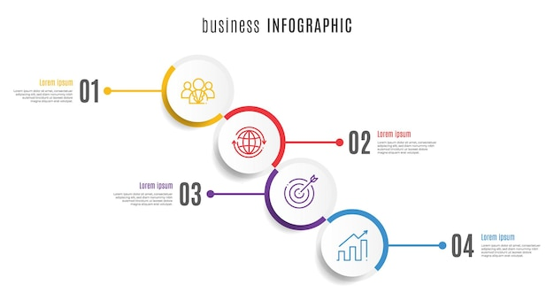 サークルタイムラインインフォグラフィックテンプレート4ステップ
