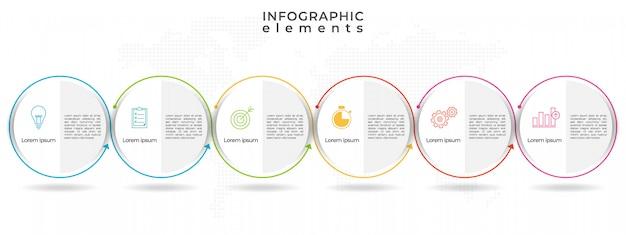 サークルタイムラインインフォグラフィックテンプレート6オプション。