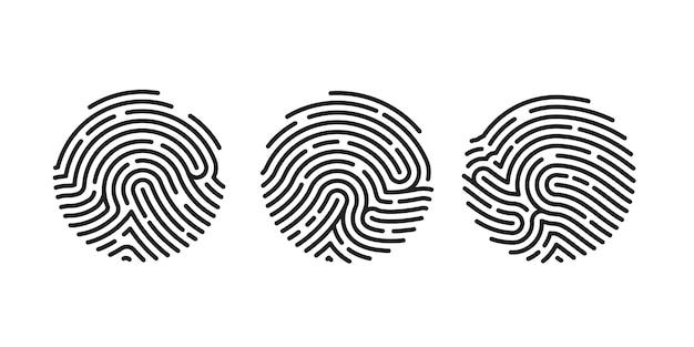 白い背景で隔離のアプリのサークルユニークな指紋アイコンのデザイン。指紋フラットスキャン。ベクトルイラスト