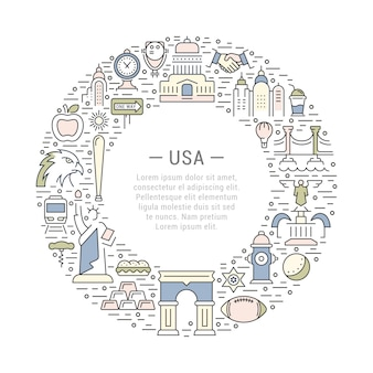 Circle usa frame with american elements