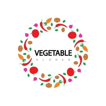 원 야채 로고 채식주의 라벨 디자인 벡터