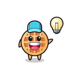 Circle waffle character cartoon getting the idea , cute design