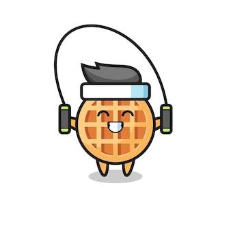 Circle waffle character cartoon with skipping rope , cute design