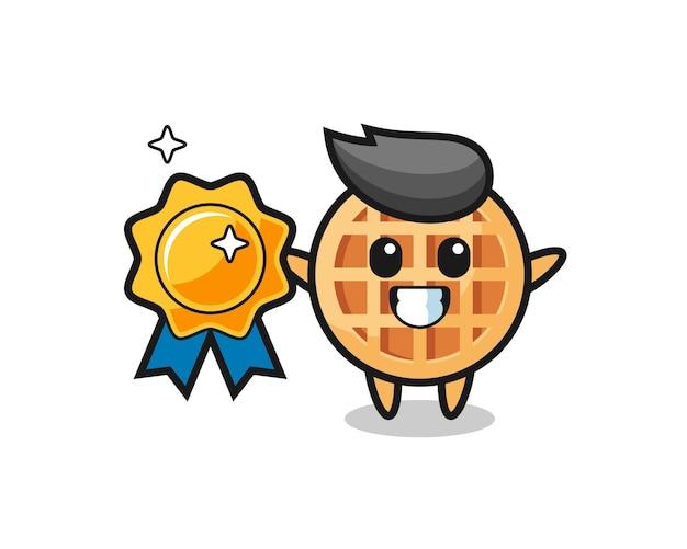 Circle waffle mascot illustration holding a golden badge , cute design