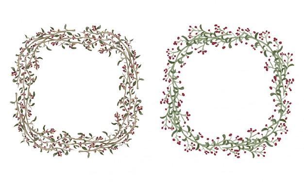 원형 수채화 나뭇 가지 프레임