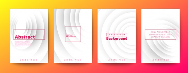 Circle wave gradient on white background set