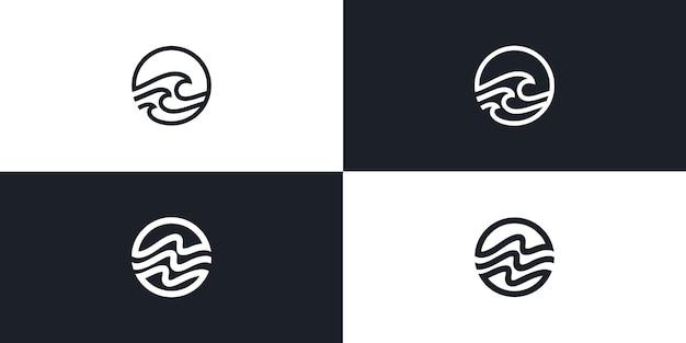 Circle wave line art monoline logo vector icon