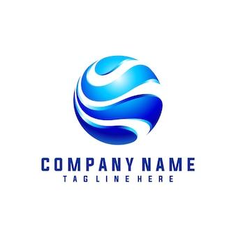 Circle wave logo design 3d look