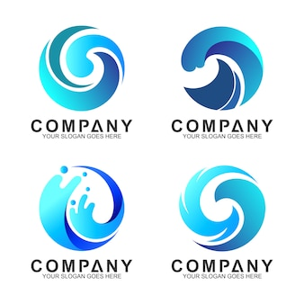 Circle wave logo set