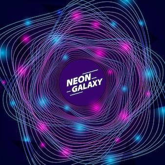 未来的または80年代のディスコと銀河の宇宙空間の抽象的な背景のための円波ネオンブルーとパープルライングローカラー