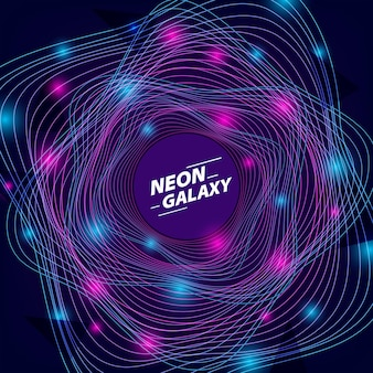 Circle wave neon blue and purple line glow color for futuristic or 80s disco and galaxy cosmos space abstract background