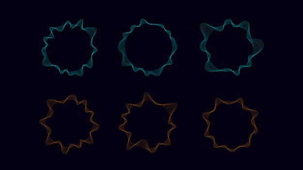 Circle wave with line in cyan and orange. abstract object about sound and technology concept.