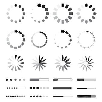 서클 웹 프리로더 및 진행률 표시줄 아이콘입니다. 로딩 요소. 검정과 회색 흰색 배경에 고립입니다. 상태 벡터 일러스트레이션 다운로드 또는 업로드