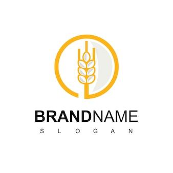 Шаблон дизайна логотипа круг пшеницы